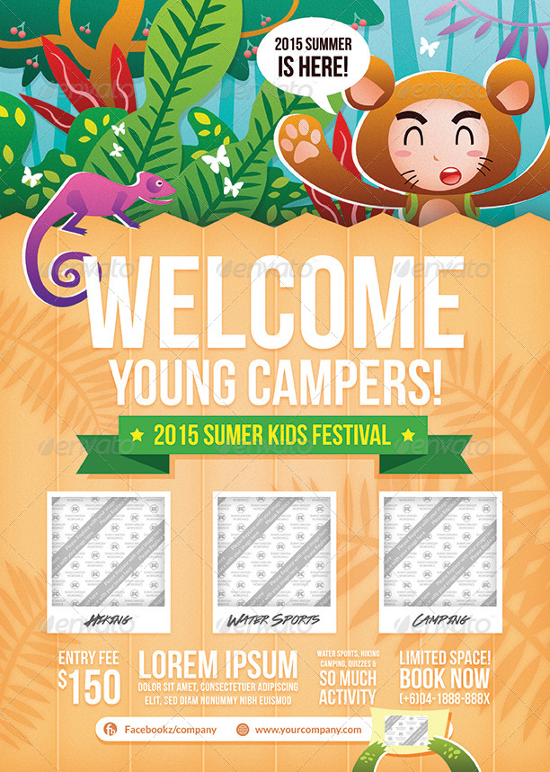Kids Summer Camp Flyer By Shamcanggih GraphicRiver - Summer camp brochure template