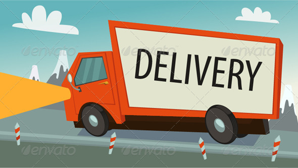 Delivery Truck (lorry), Shipping Concept - Man-made Objects Objects