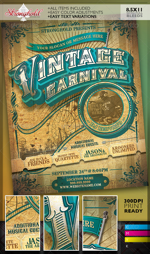 vintage carnival circus event flyer template by