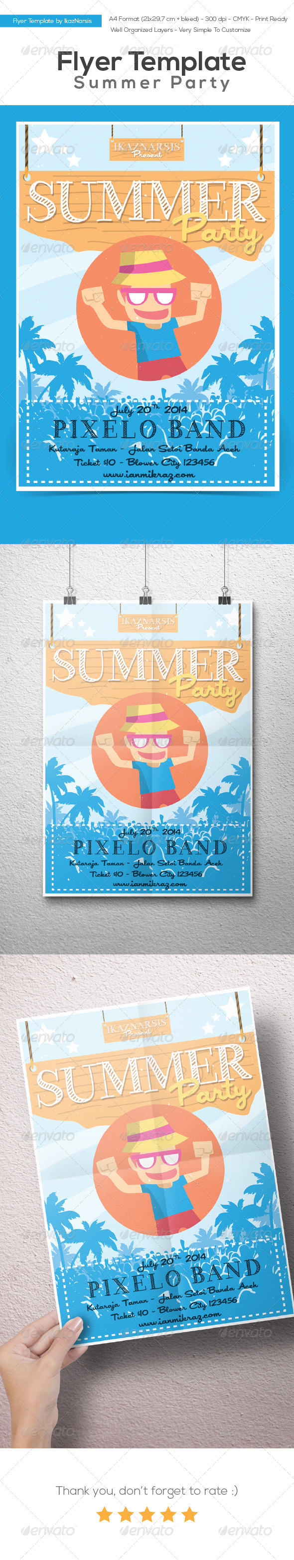 Summer Party Flyer Template - Holidays Events