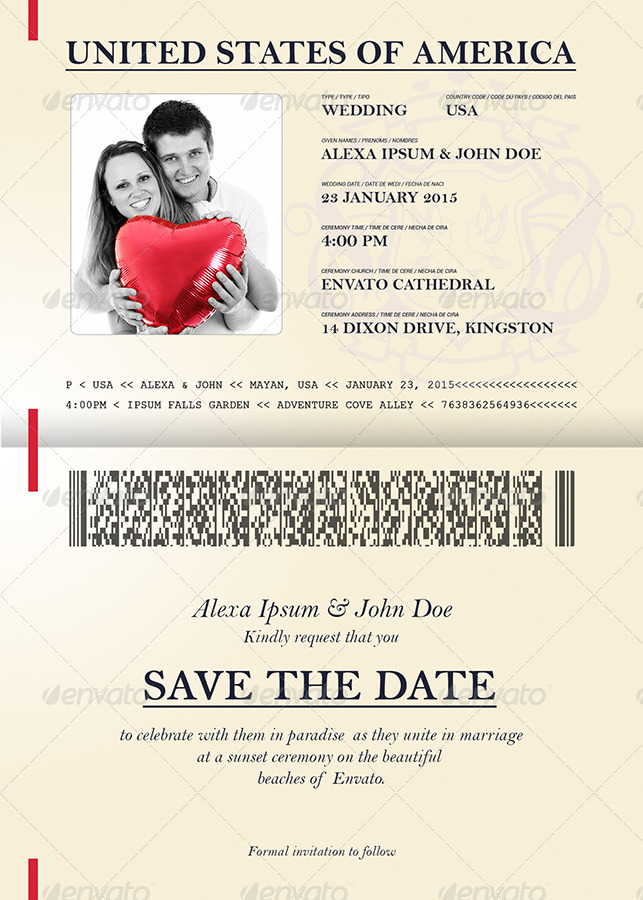 passport wedding program template - passport style wedding set by dantaque graphicriver