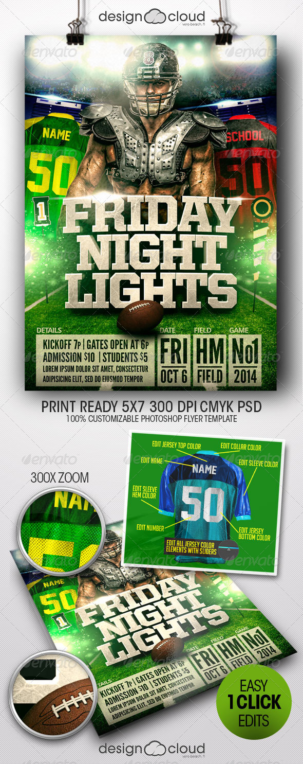 Friday Night Lights Football Flyer Template - Sports Events