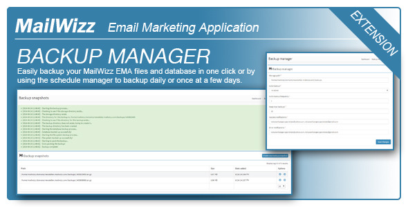 Backup Manager for MailWizz EMA