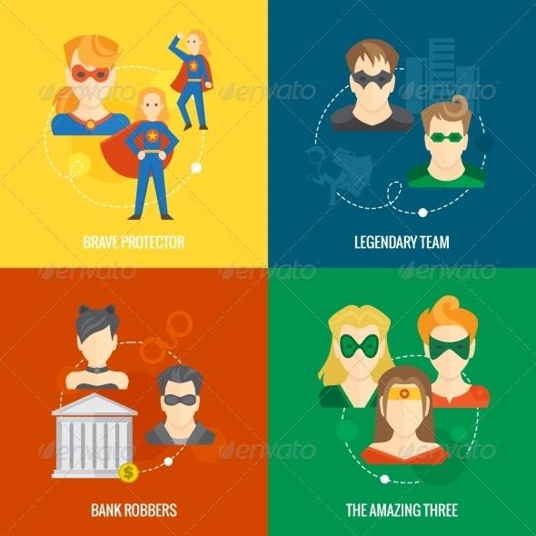 Superhero Icon Flat Composition