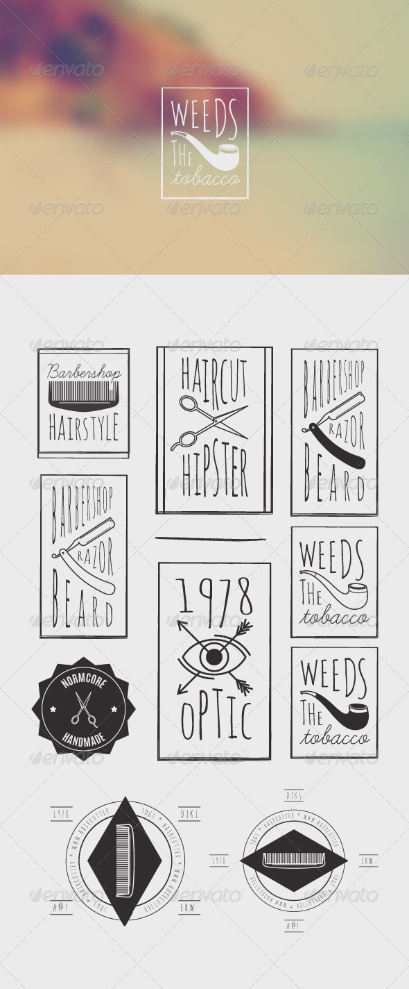 Trendy Retro Vintage Insignias Bundle - Decorative Vectors