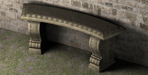 Stone Bench - Low Poly - 3DOcean Item for Sale