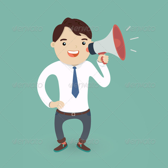 Businessman Character with a Megaphone - People Characters