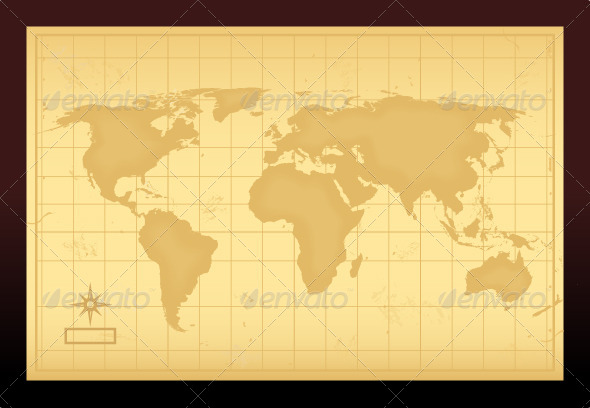 Vintage World Map - Objects Vectors