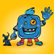 Cartoon Smiling Blue Monster - GraphicRiver Item for Sale