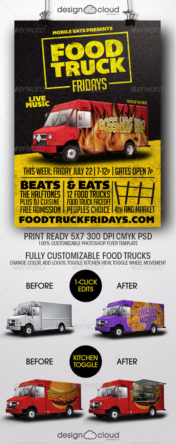 Food Truck Fridays Flyer Template - Miscellaneous Events