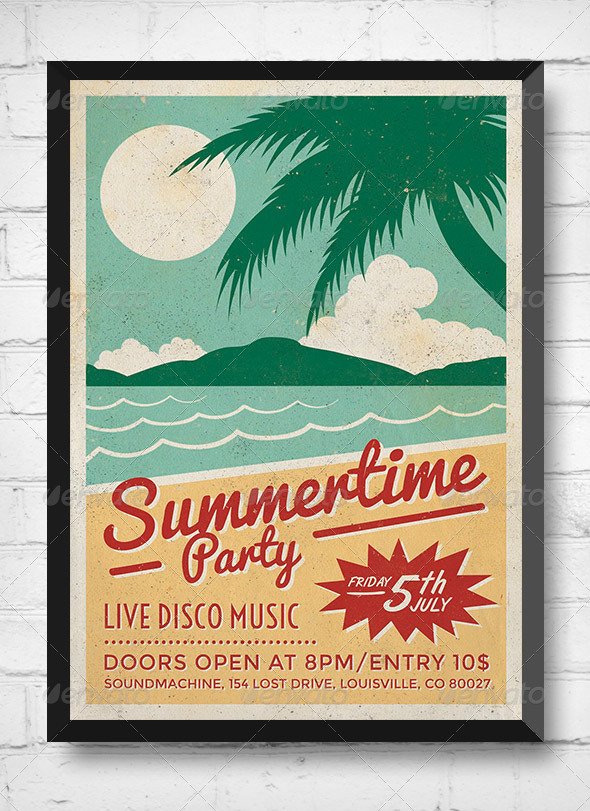 Summertime Party - Retro Event Flyer