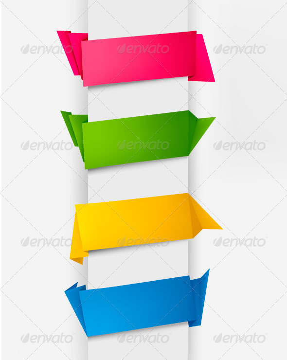 Set of Colorful Origami Paper Banners. - Business Conceptual