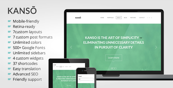 Kanso – Clean One-Page Parallax WordPress Theme