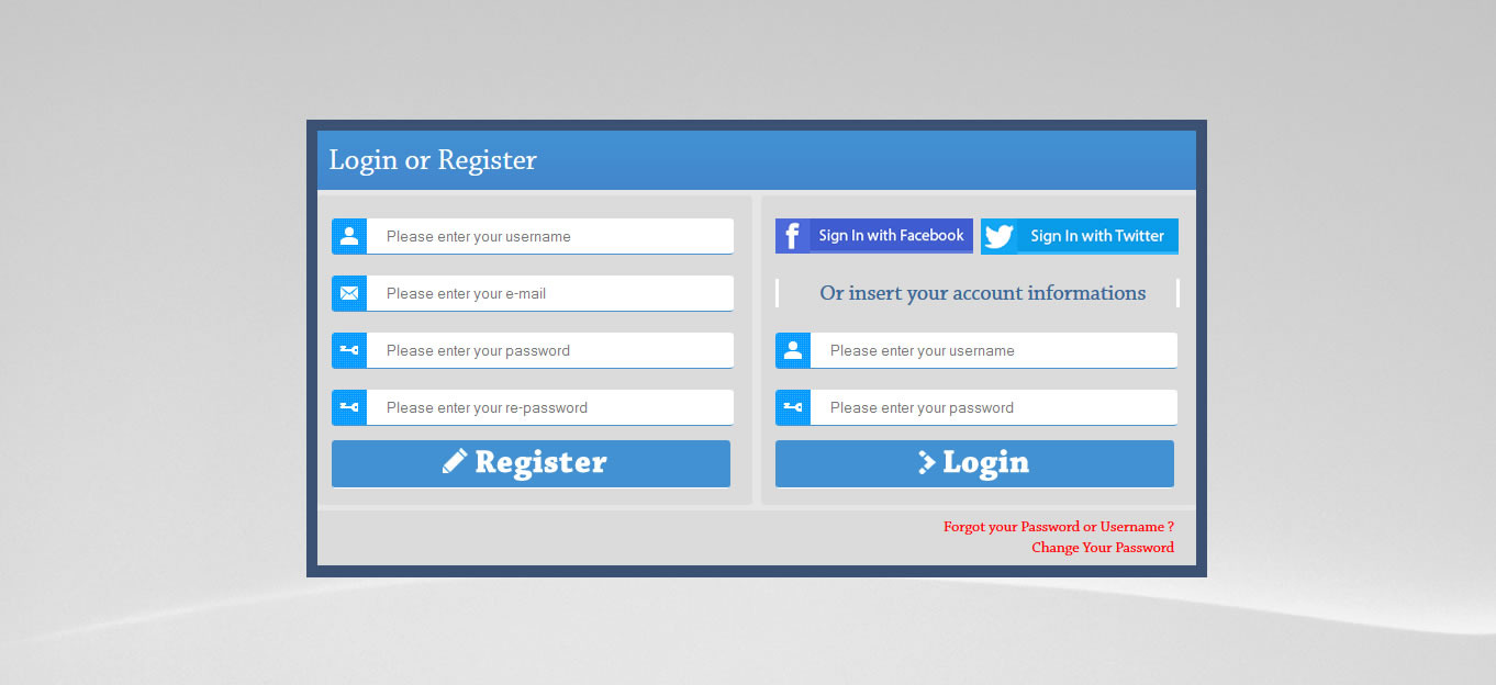 PHP AJAX Login & Register Form with Social Network by caglarartar ...