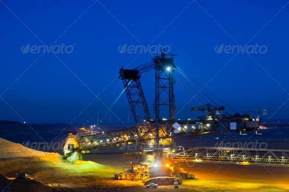 Bucket Wheel Excavator At Night - Stock Photo - Images