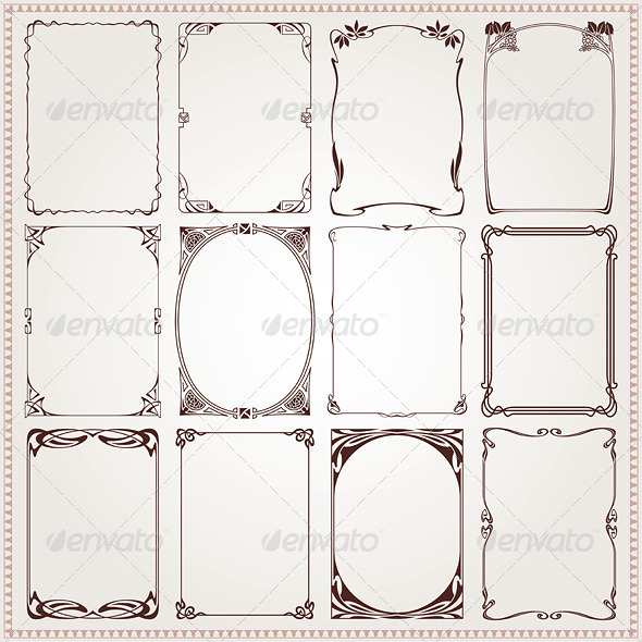 Decorative Frames and Borders Art Nouveau by digiselector | GraphicRiver