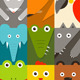 Flat Childish Rectangular Animals Set - GraphicRiver Item for Sale