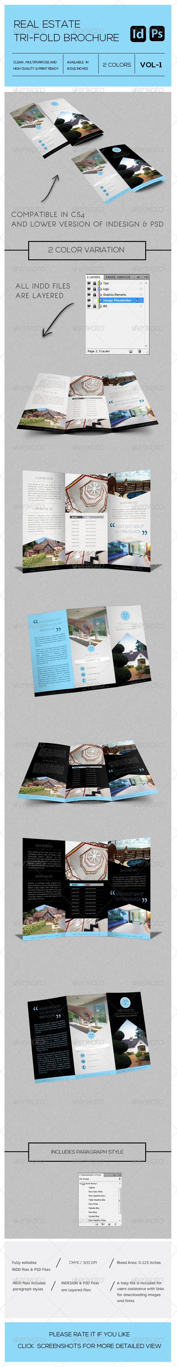 Real Estate Business Tri-Fold Brochure Vol-1 - Brochures Print Templates