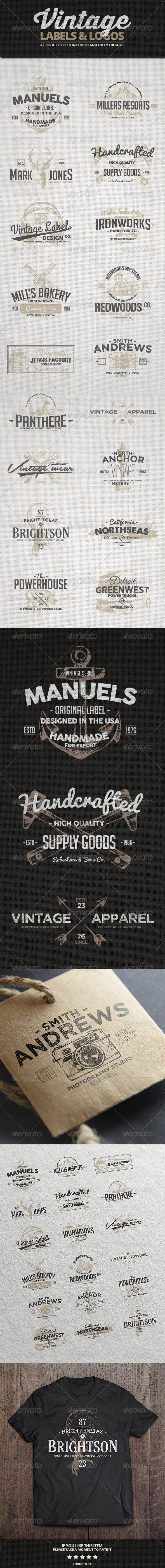 Vintage Labels & Logos Vol.3 - Badges & Stickers Web Elements