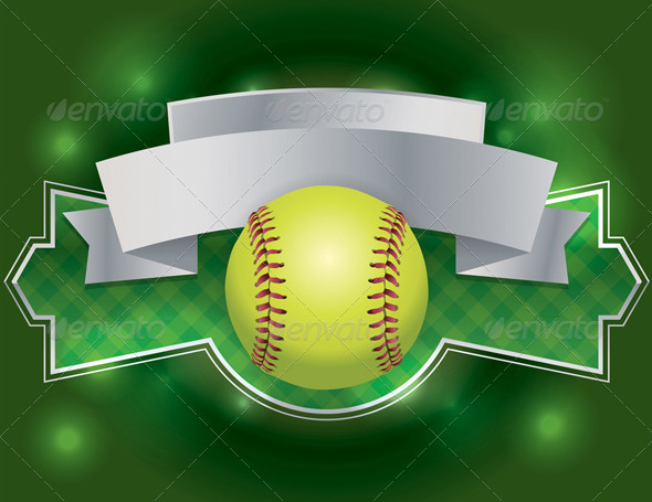 vector softball label and banner illustration by enterlinedesign