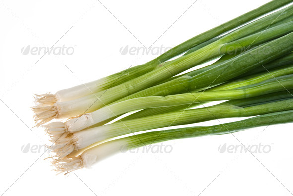 Green onions isolated on white - Stock Photo - Images