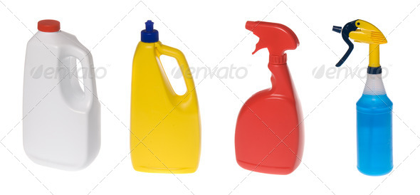 Assortment of cleaning bottles - Stock Photo - Images
