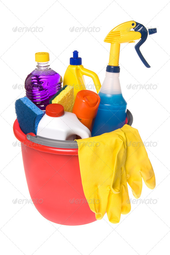 Bucket of cleaning supplies - Stock Photo - Images