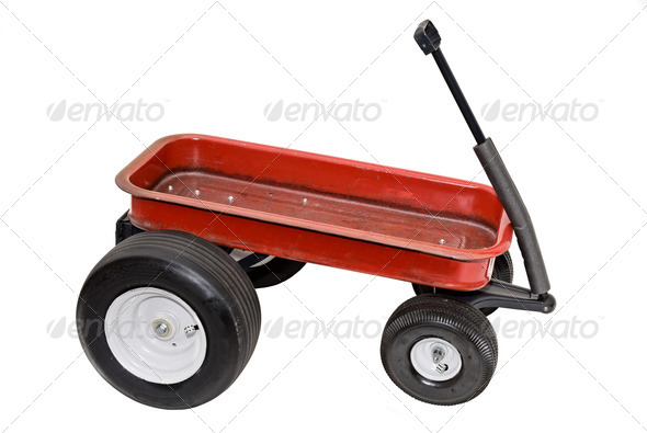 Red wagon - Stock Photo - Images
