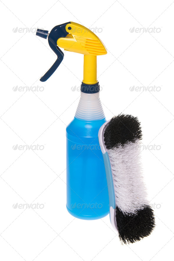 Spray cleaner and brush - Stock Photo - Images