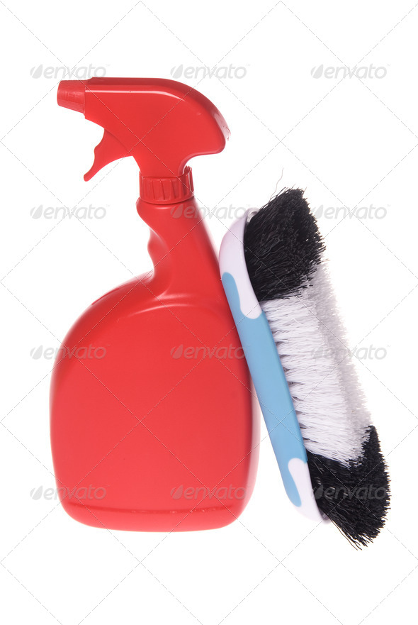 Spray bottle of cleaner with brush - Stock Photo - Images