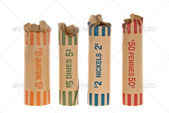 Wrapped coins - Stock Photo - Images