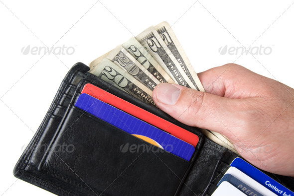 Wallet and cash - Stock Photo - Images