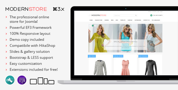 Modern Store - responsive eCommerce Joomla theme by Joomla-Monster