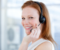 Smiling sales representative woman with an headset - PhotoDune Item for Sale