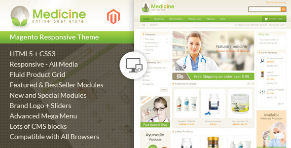 Medicine - Responsive Magento Theme - Health & Beauty Magento