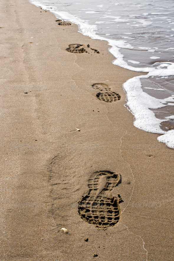 Shoeprints in the sand - Stock Photo - Images