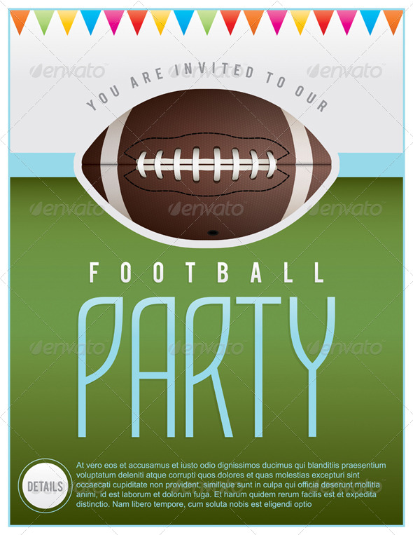 Vector Football Party Flyer By Enterlinedesign Graphicriver
