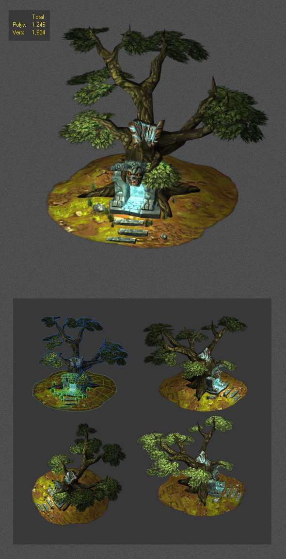 low poly cave dead tree  - 3DOcean Item for Sale