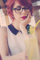 Cute hipster teenage girl in a coffee shop, retro tones - PhotoDune Item for Sale