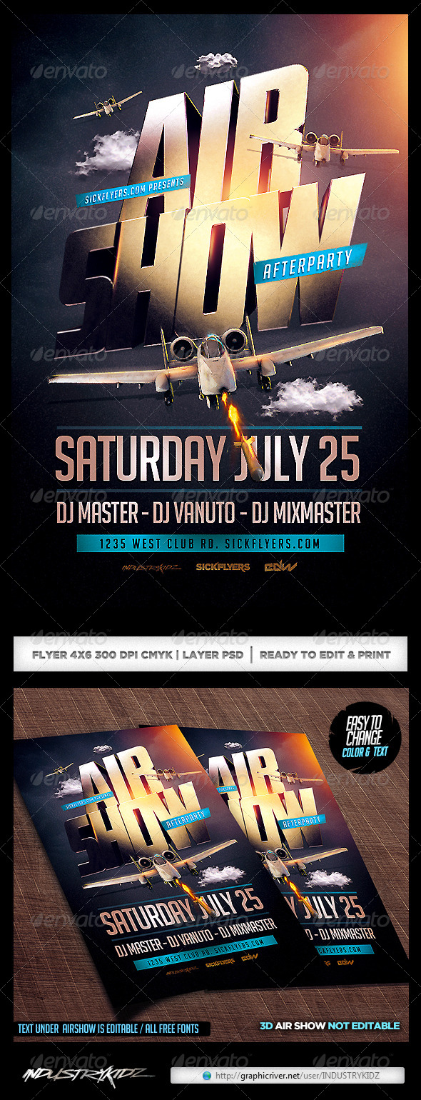 Airshow Party Flyer Template PSD - Events Flyers