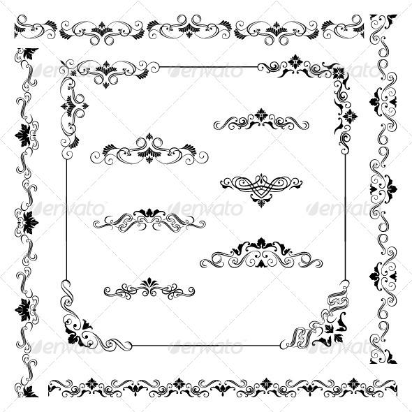 Antique Scroll Line: Vintage Vector Frame Border Divider Corner By Kostins