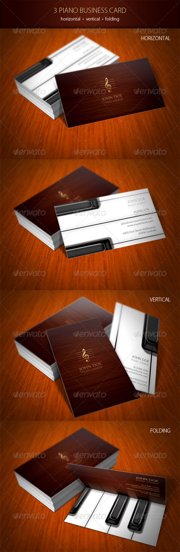 3 Piano Business Card - Industry Specific Business Cards