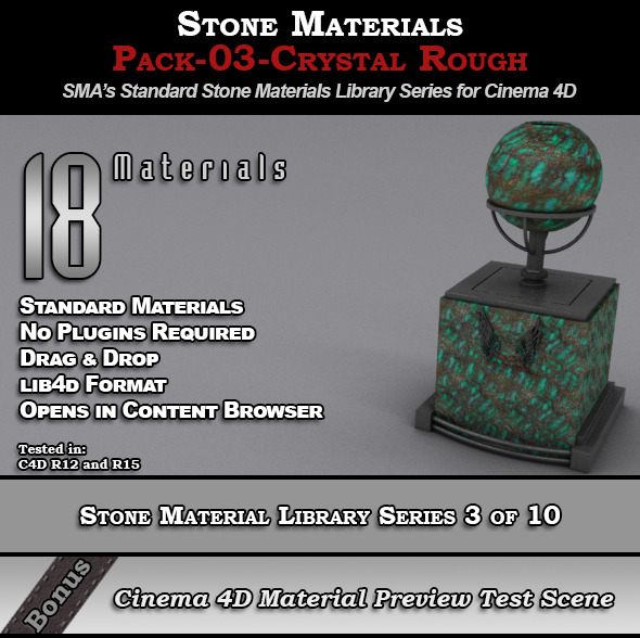 Standard Stone Material Pack-03-Crystal_Rough[C4D] - 3DOcean Item for Sale