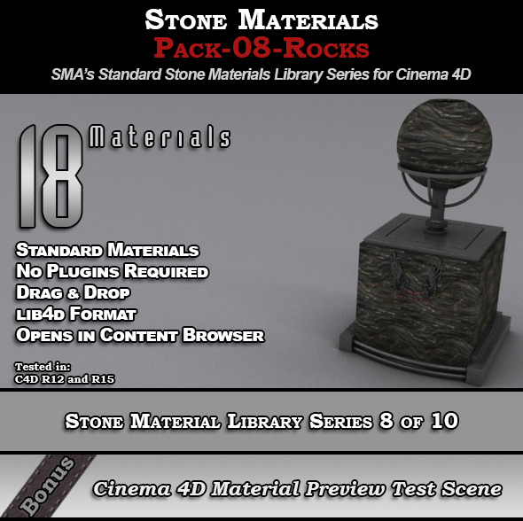 Standard Stone Material Pack-08-Rocks for C4D - 3DOcean Item for Sale