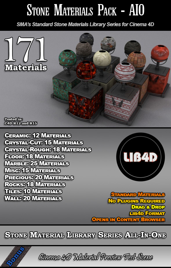 171 Standard Stone Materials Pack AIO for C4D - 3DOcean Item for Sale