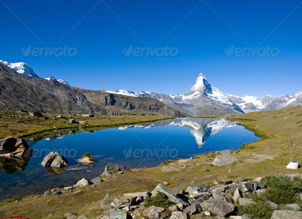Stelisee with the Matterhorn - Stock Photo - Images