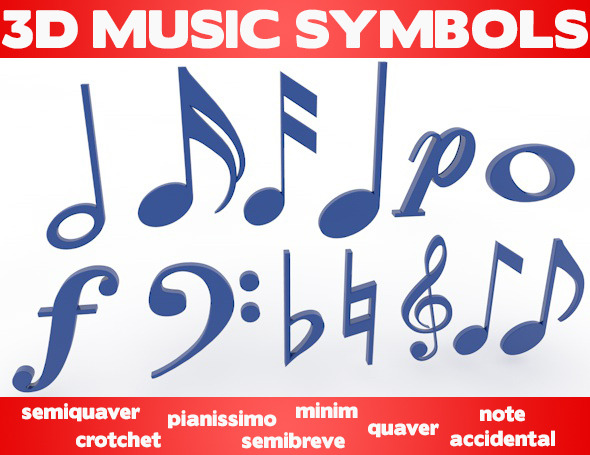 3D Music Symbols - 3DOcean Item for Sale