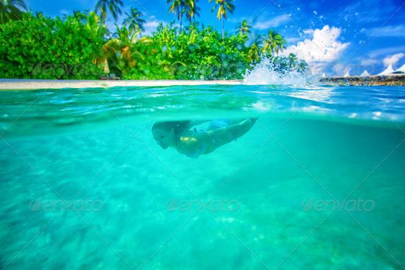 Enjoying marine life - Stock Photo - Images