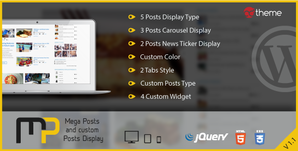 Mega Posts and Custom Posts Display WP Plugin - CodeCanyon Item for Sale