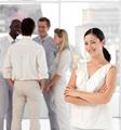 Diverse people talking together at work